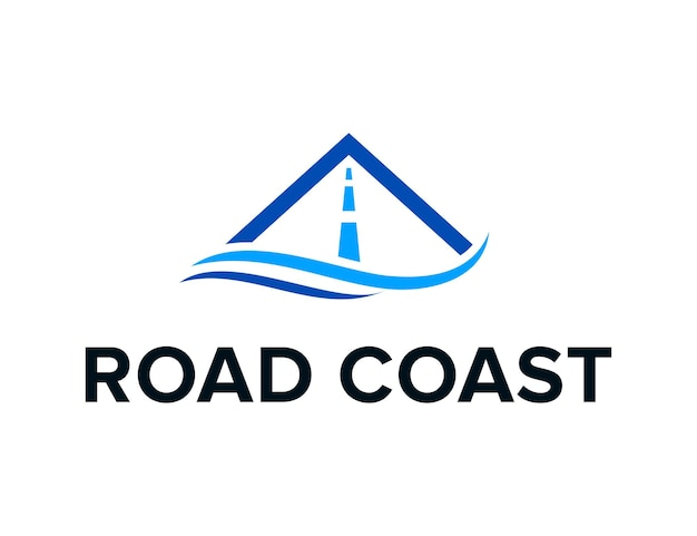 Vague côte mer avec route simple et élégant vecteur de conception de logo moderne