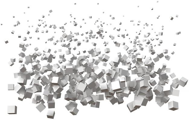 Vague de cubes simples. la taille étant plus grande de haut en bas.