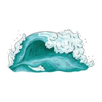 Vague d'eau bleue dessinée à la main isolée sur fond blanc