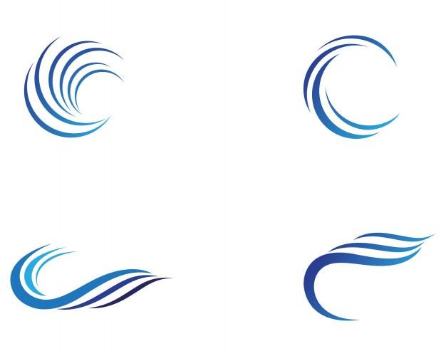 Vague d'eau logo template design d'illustration vectorielle