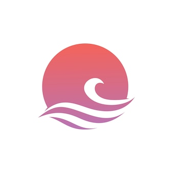 Vague eau mer coucher de soleil soleil logo vector icon illustration
