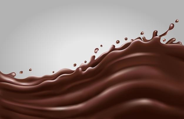 Vague d'éclaboussures de chocolat liquide sur fond gris