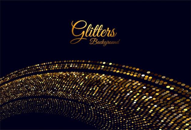 Vague élégante de paillettes d'or abstraite sur fond noir