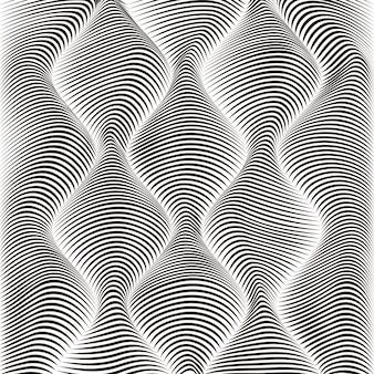 Vague fond monochrome texturé rayé dans un style abstrait 3d.