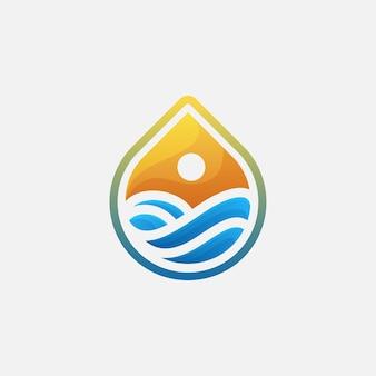 Vague de goutte d'eau avec logotype d'icône de vecteur de conception de logo de coucher du soleil