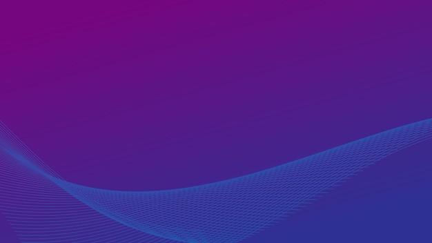 Vague de ligne abstraite avec effet d'éclairage sur fond de couleur dégradé bleu et violet avec espace de copie