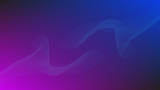 Vague de ligne abstraite avec effet d'éclairage sur fond de couleur dégradé violet et bleu