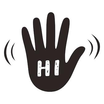 Vague de main agitant salut ou bonjour geste. signe de salutation.