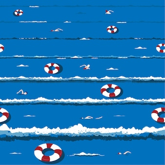 Vague océan estival branché et frais avec relax nager, bouée de sauvetage humeur de vacances en vecteur dessiné à la main modélisme