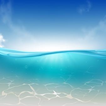 Vague océanique, fond réaliste de la colonne d'eau de mer