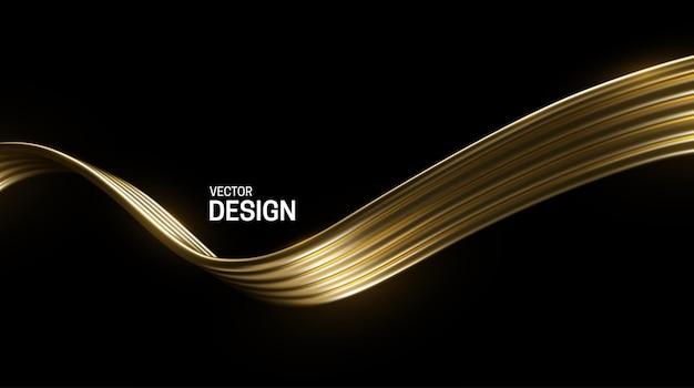 Vague D'or Abstraite Isolée Sur Fond Noir Vecteur Premium