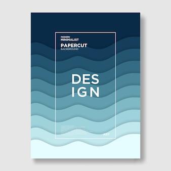 Vague, papier découpé, fond bleu, abstrait et moderne