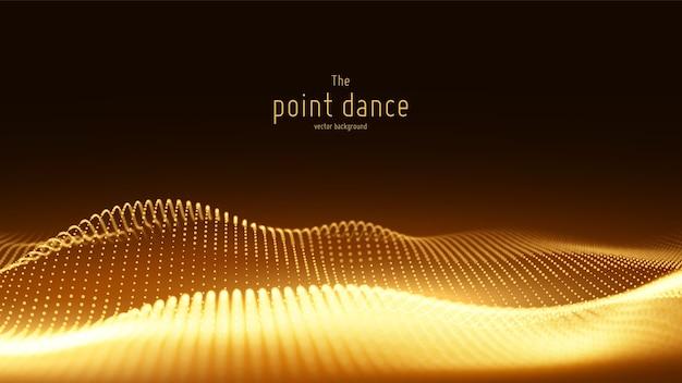 Vague de particules dorées abstraites de vecteur, tableau de points, faible profondeur de champ.