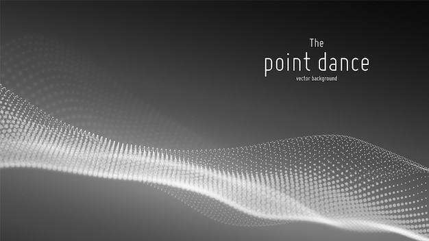 Vague de particules monochromes abstraites, tableau de points, faible profondeur de champ. illustration futuriste. splash numérique de technologie, explosion de points de données. forme d'onde de danse ponctuelle.