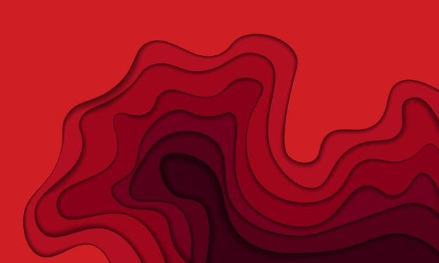 Vague rouge abstraite en arrière-plan de style papier découpé. conception pour votre annonce d'entreprise.