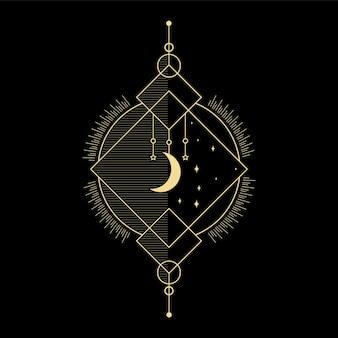 Vague de soleil en cristal de lune et géométrie sacrée pour la conception de tatouage de lecteur de carte de tarot d'orientation spirituelle