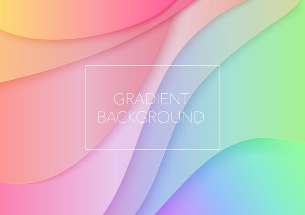 Vagues abstraites de papier art dessin animé. fond de courbes de couleur dégradé à la mode. couches découpées en papier volumétrique 3d