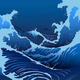 Vagues bleues dans le style japonais