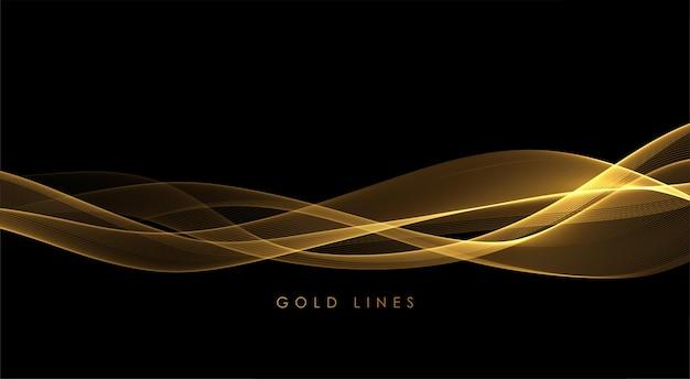 Vagues de fumée d'or abstrait. élément de conception de lignes mobiles dorées brillantes sur fond sombre pour cadeau, carte de voeux et bon de réduction. illustration vectorielle