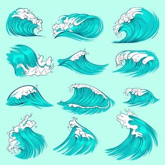Vagues de mer bleu dessinés à la main vintage avec éclaboussures