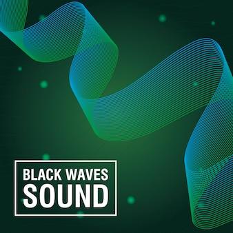 Les vagues noires sonnent sur fond vert