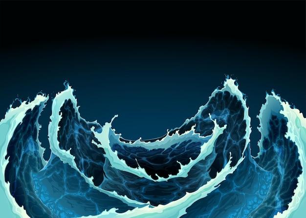 Vagues de l'océan agitées. illustration de fond de vecteur.