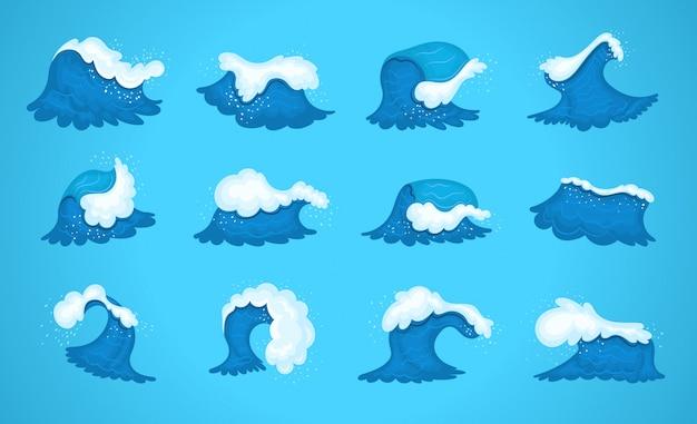 Vagues de l'océan de l'eau bleue, vague de surf marine, ondulations des marées