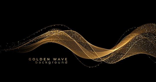 Vagues d'or abstraites. élément de conception de lignes mobiles dorées brillantes avec effet scintillant