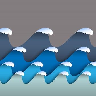 Vagues de papier origami bleu avec mousse de mer