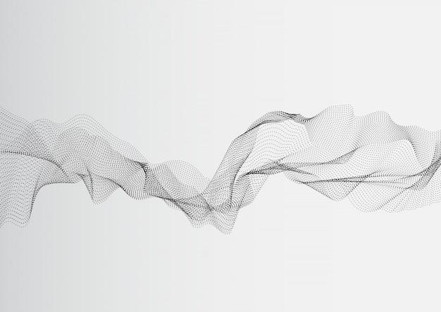 Vagues de réseau abstrait point blanc gris