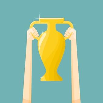 Vainqueur coupe, tenant le trophée,