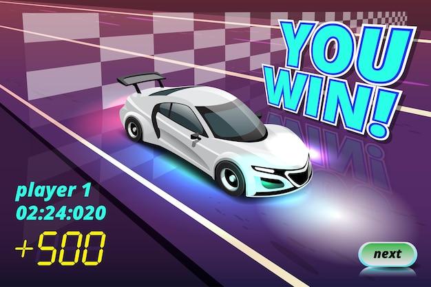 Vainqueur dans l'objectif de course de voitures de vitesse en damier et premier drapeau à damier sportif au niveau du jeu et montrant votre meilleur temps au tour