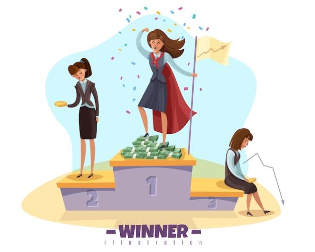 Vainqueur de l'entreprise perdante avec des femmes d'affaires femmes personnages de style doodle sur poduim gagnants avec texte modifiable
