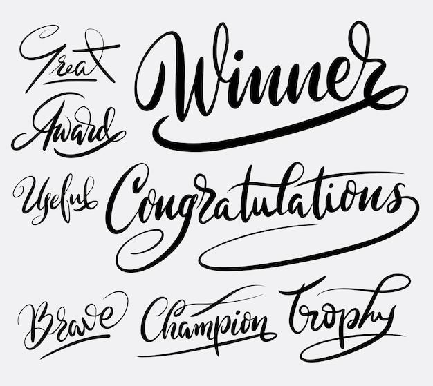Vainqueur et trophée champion calligraphie calligraphie
