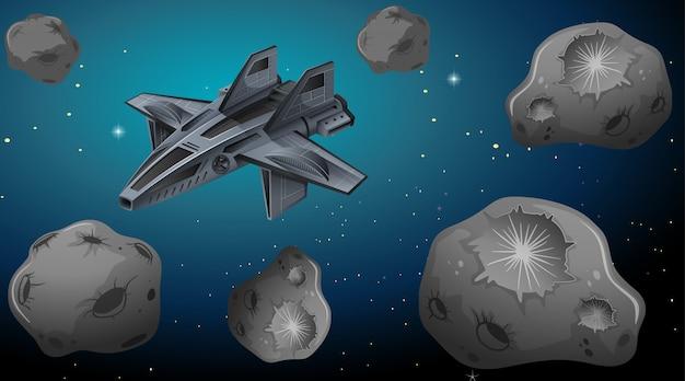 Vaisseau spatial en arrière-plan de l'univers