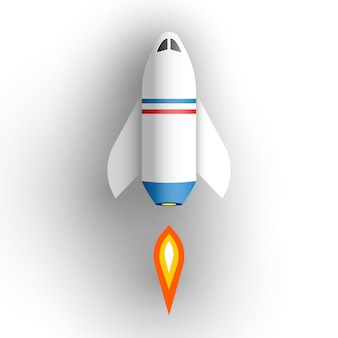 Vaisseau spatial sur fond blanc. illustration.