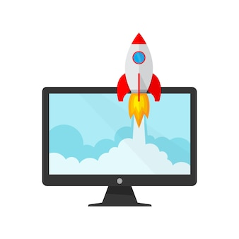 Le vaisseau spatial et le moniteur - concept de création d'entreprise. illustration vectorielle.