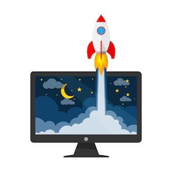 Le vaisseau spatial et le moniteur - concept de démarrage d'entreprise. illustration.