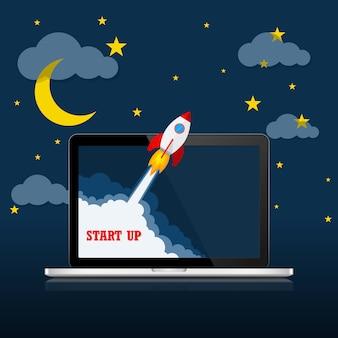 Le vaisseau spatial et l'ordinateur portable - concept de démarrage d'entreprise. illustration vectorielle.