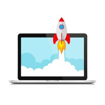 Le vaisseau spatial et l'ordinateur portable