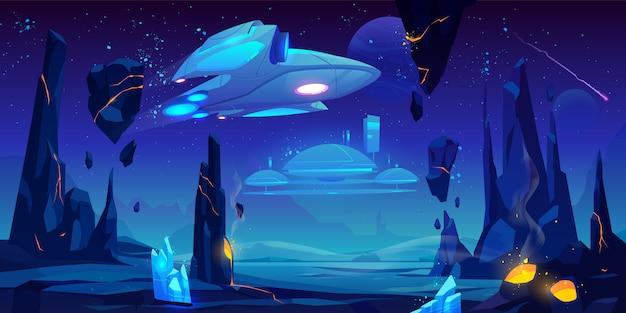 Vaisseau spatial, station interstellaire sur une planète extraterrestre