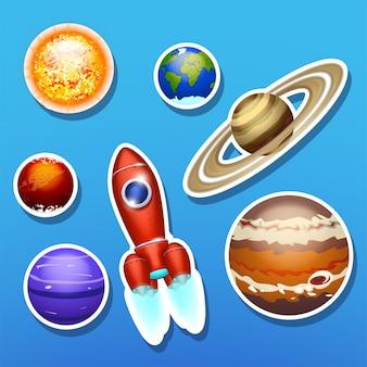 Vaisseau spatial avec système solaire