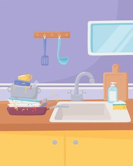 Vaisselle de cuisine sale