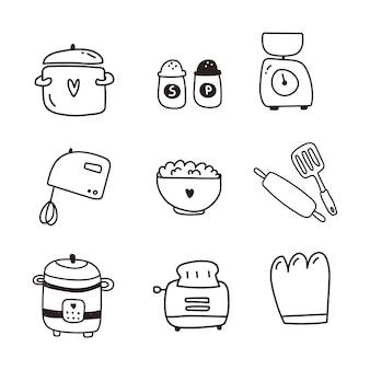 Vaisselle, ensemble d'articles de cuisine d'icône. tirage à la main
