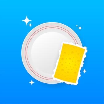 Vaisselle, laver la vaisselle. liquide vaisselle, vaisselle et éponge jaune.