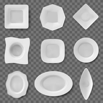 Vaisselle vide de différentes formes pour les repas