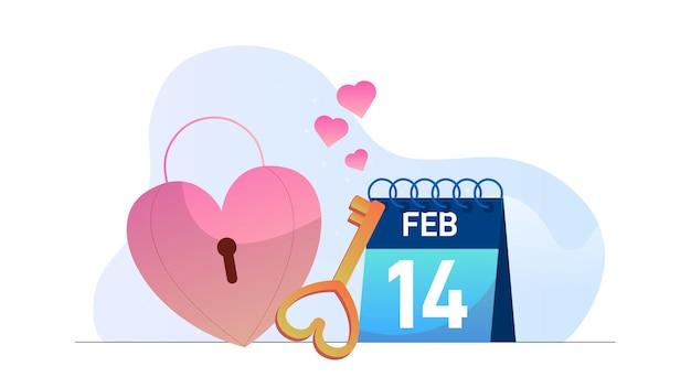 Valentin amour clé calendrier illustration fond