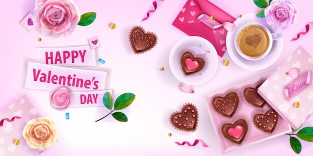 Valentin amour romantique fond laïque avec enveloppes roses, fleurs, roses, tasse à café, gâteaux coeur.