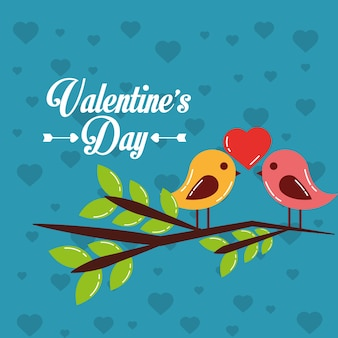 Valentin carte couple oiseaux coeur dans branche arbre