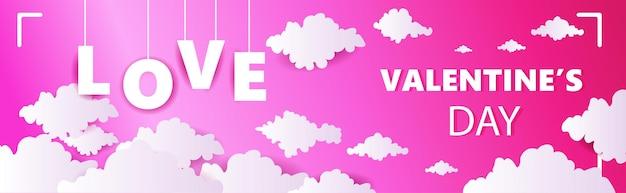 Valentin célébration amour bannière flyer ou carte de voeux horizontal